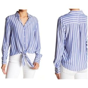 NWT Striped Blue White Tie Front Blouse Top Small
